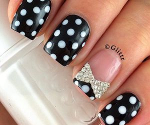 nails, black, and bow image