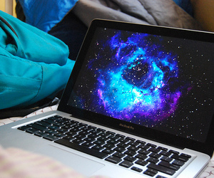 laptop, galaxy, and photography image