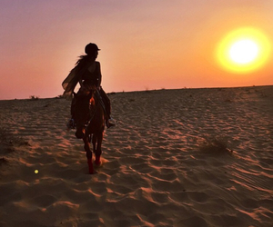 girl, horse, and sunset image