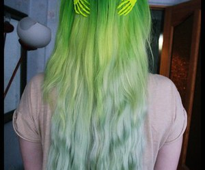 alt girl, green hair, and colorfull hair image