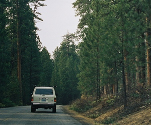 car, forest, and vintage image