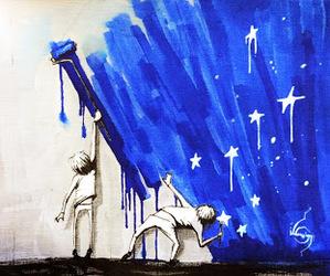 art, blue, and street art image