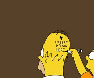 simpsons, brain, and homer image