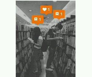 black, couple, and books image