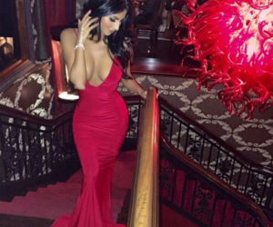 red, dress, and girl image