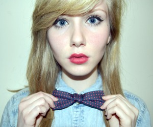 blonde, bow tie, and fashion image