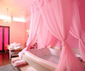 pink, bathroom, and bath image