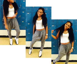 curly hair, jordans, and dope image