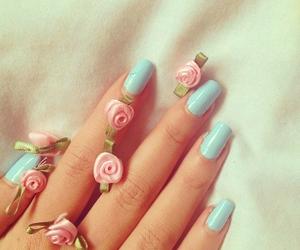 nails, girl, and roses image