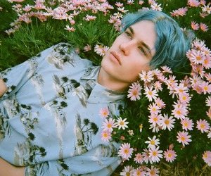 boy, flowers, and blue image