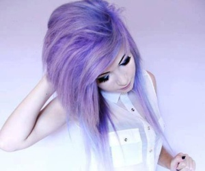 colorful hair, girl, and white image