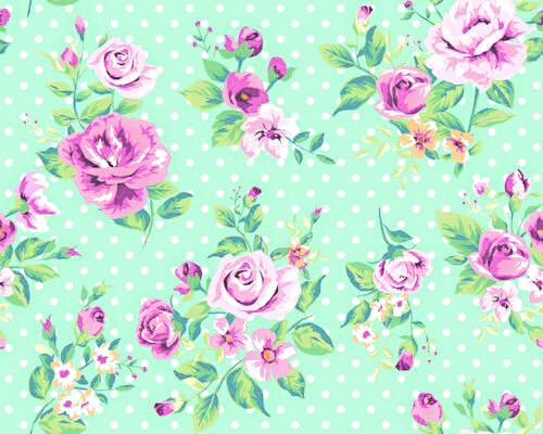 Mint Green Vintage Floral Wallpaper On We Heart It