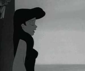 ariel, black and white, and princess image