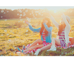 best friends, bubbles, and summer image