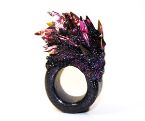 black, glitter, and ring image