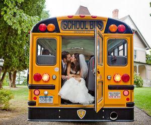 couple, kiss, and bus image