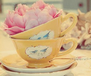 cup, flowers, and pink image