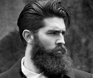 b&w, beard, and man image
