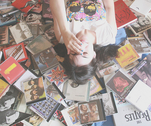 girl, beatles, and cd image