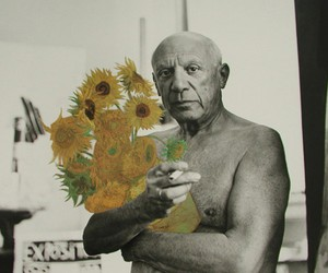 picasso, art, and flowers image