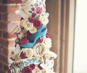 cake, alice in wonderland, and wedding image