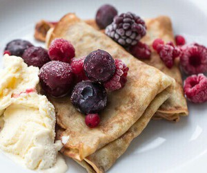 crepes, ice cream, and delicious image