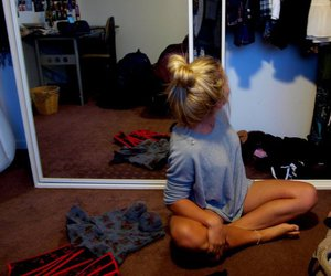 blonde, room, and bun image