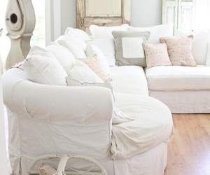 white sofa, shabby chic sofa, and shabby chic couch image