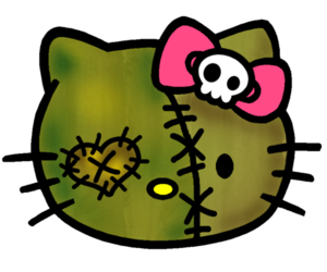 skull, hello kitty, and Halloween image