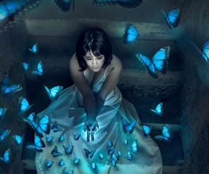 background, girl, and butterflies image