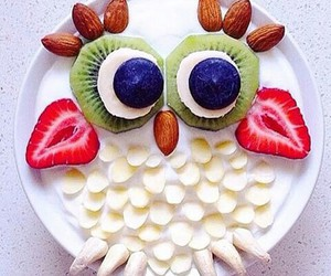 food, owl, and strawberry image