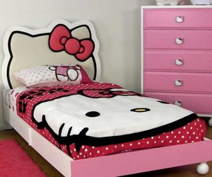 teen bedroom, decorating ideas, and hello kitty theme image