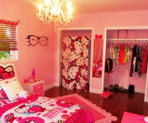 teen bedroom, decorating ideas, and cool hello kitty image
