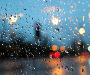 rain, lights, and window image