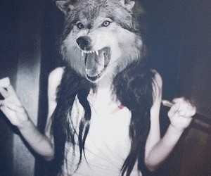 girl, wolf, and grunge image