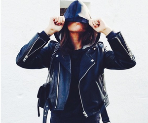 biker jacket, black, and fashion image