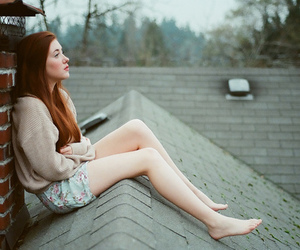 beauty, redhead, and roof image
