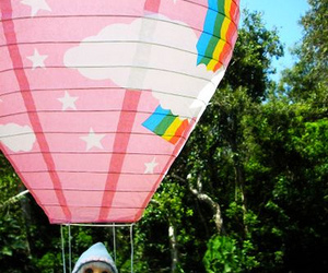 balloons, rainbow, and pink image