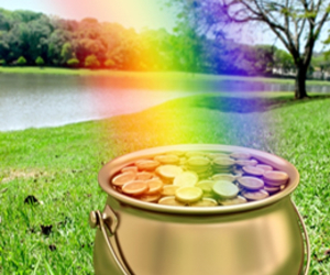 irish, rainbow, and pot of gold image