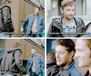 dean winchester, hug, and garth image