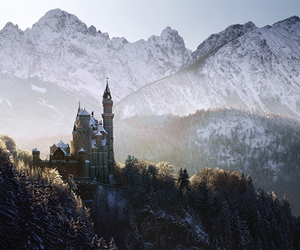 castle, landscape, and mountains image