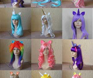 hair, wig, and unicorn image