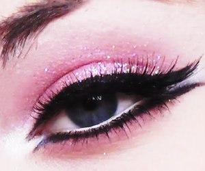 pink, eye, and eyeliner image