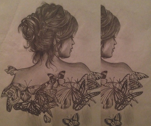 butterflies, drawing, and pencil image
