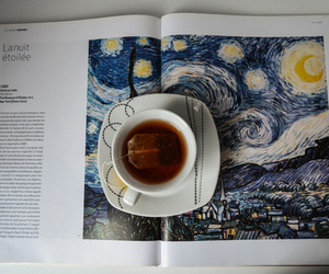 book, tea, and art image