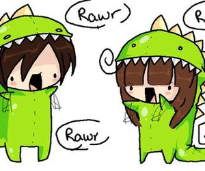 rawr, dinosaur, and couple image