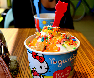 hello kitty, ice cream, and yogurt image