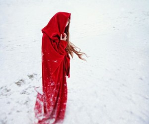 snow, winter, and red image