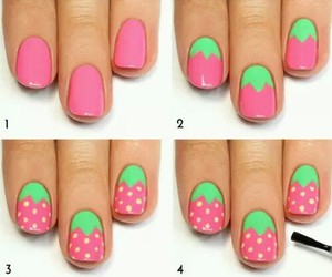 nails, diy, and strawberry image