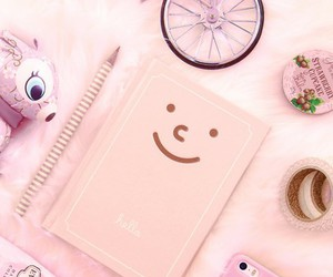pink, notebook, and smile image